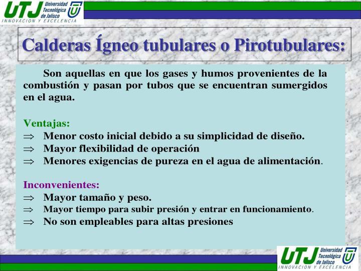 Calderas Ígneo tubulares o Pirotubulares: