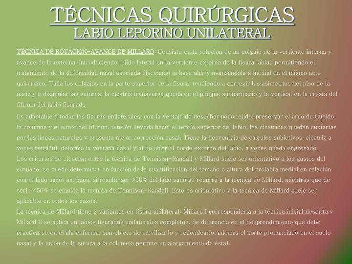 TÉCNICAS QUIRÚRGICAS