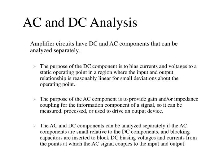 Ac and dc analysis