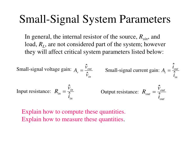 Small-Signal System Parameters