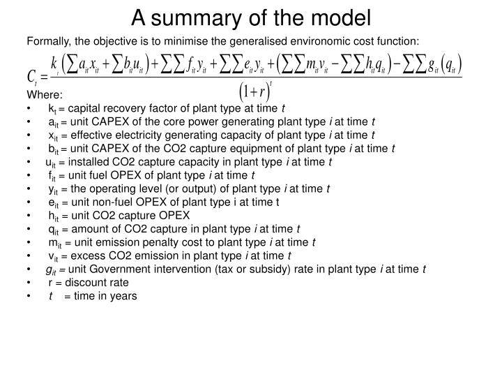 A summary of the model