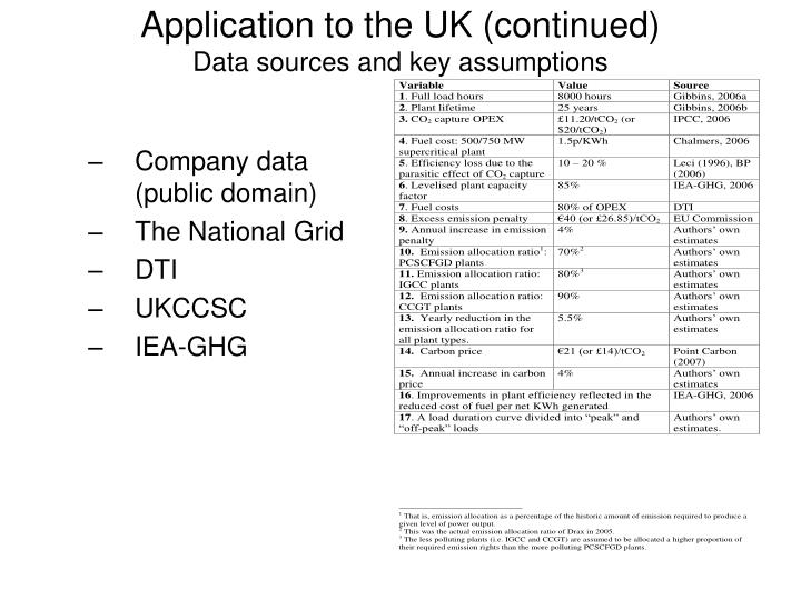 Application to the UK (continued)