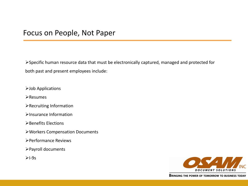 Focus on People, Not Paper