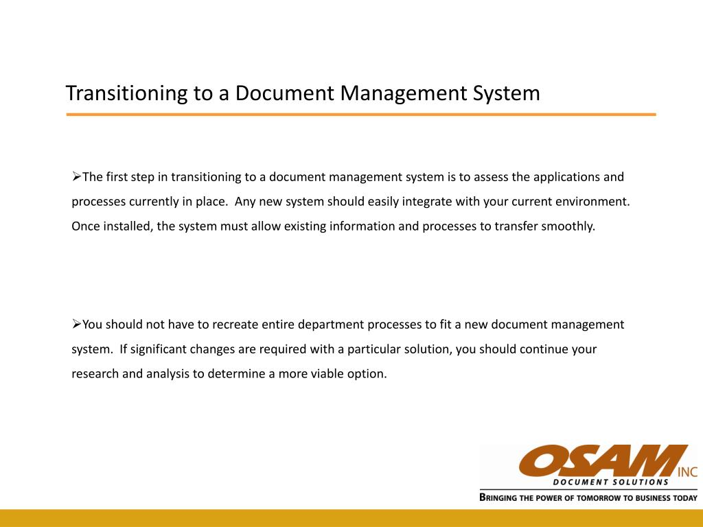 Transitioning to a Document Management System