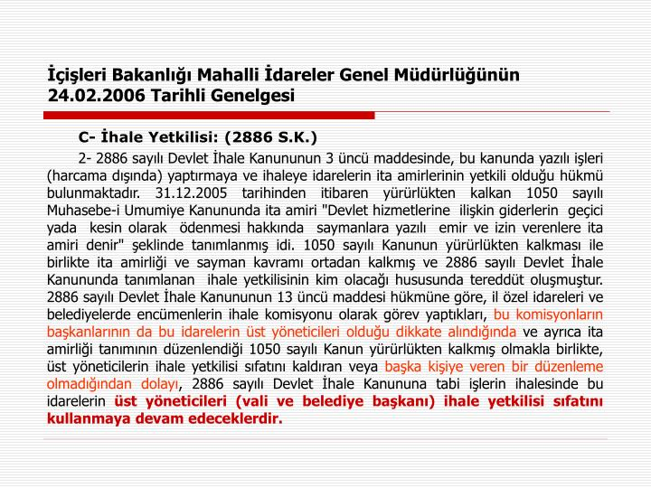İçişleri Bakanlığı Mahalli İdareler Genel Müdürlüğünün 24.02.2006 Tarihli Genelgesi