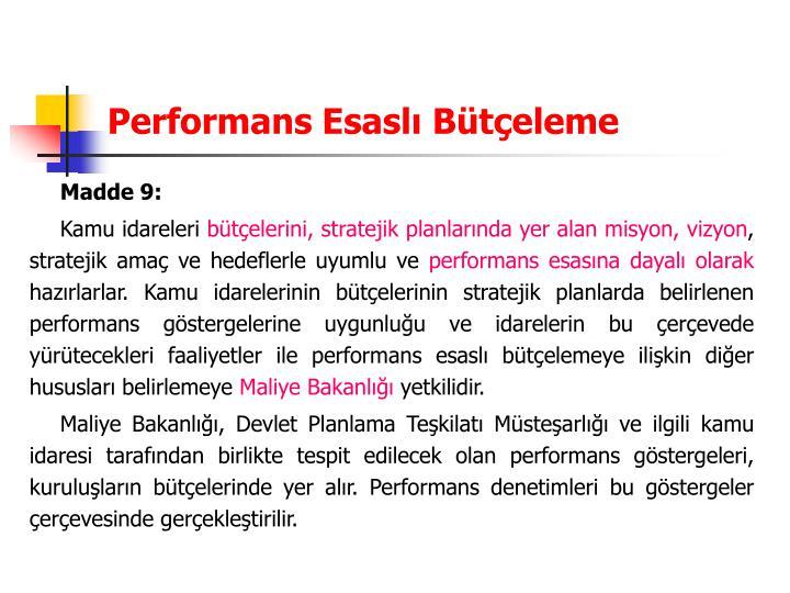 Performans Esaslı Bütçeleme