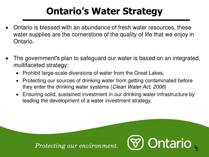 Ontario's Water Strategy