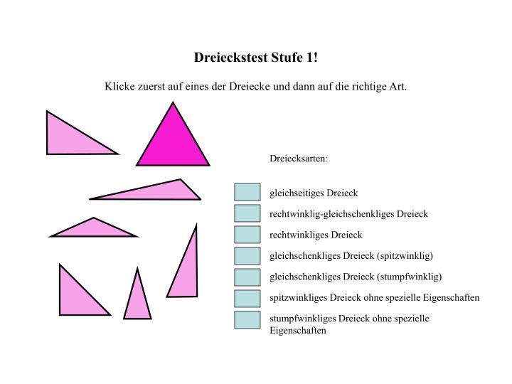 Dreieckstest Stufe 1!