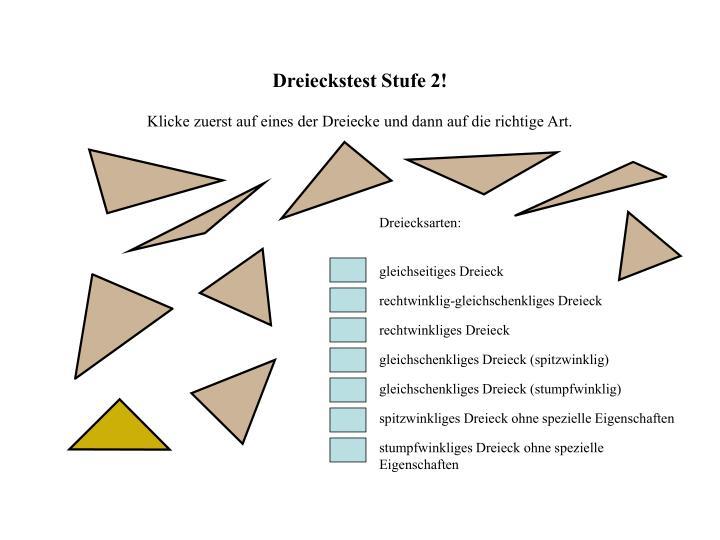 Dreieckstest Stufe 2!