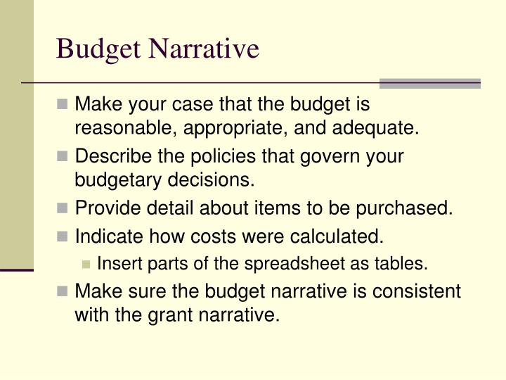 Budget Narrative