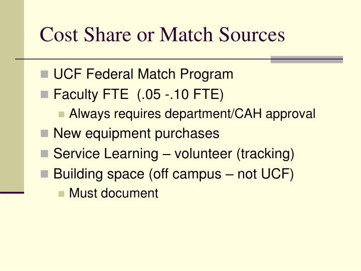 Cost Share or Match Sources