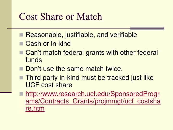Cost Share or Match