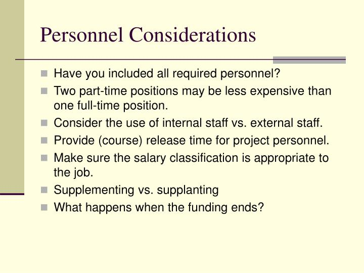 Personnel Considerations