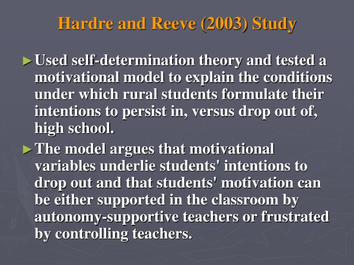 Hardre and Reeve (2003) Study