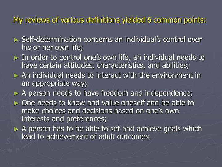 My reviews of various definitions yielded 6 common points: