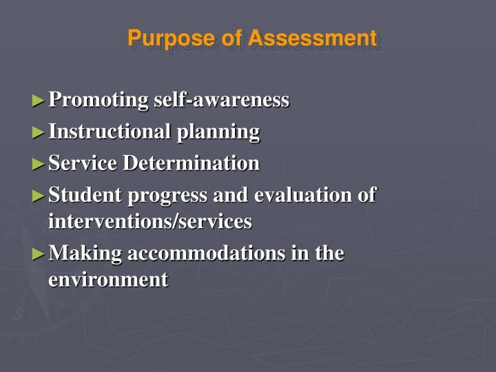 Purpose of Assessment