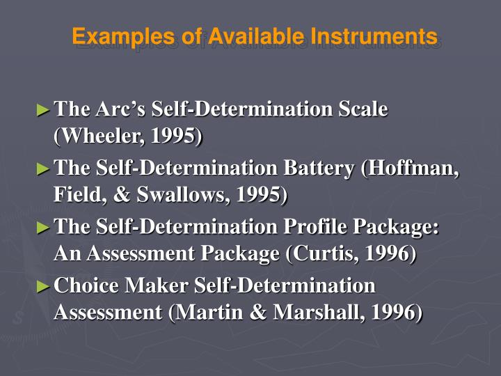 Examples of Available Instruments
