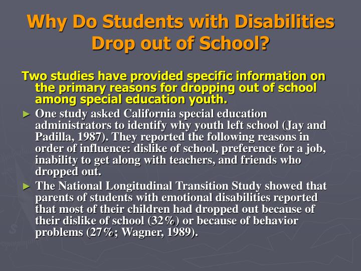 Why Do Students with Disabilities Drop out of School?