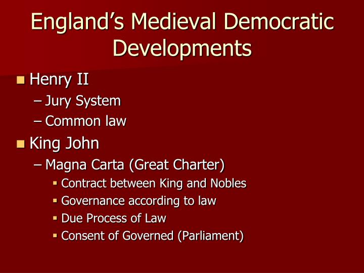 England's Medieval Democratic Developments