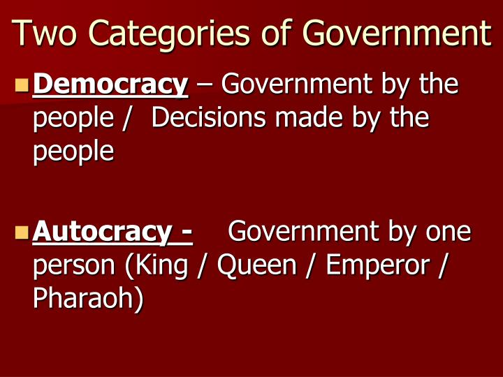 Two categories of government