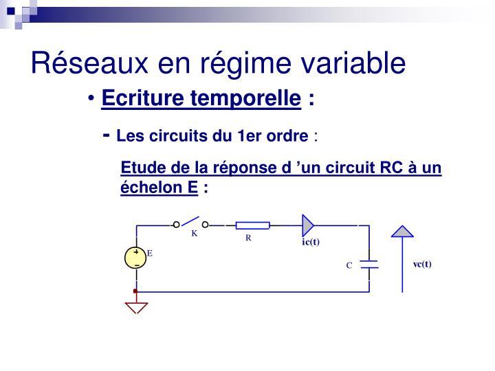Etude de la réponse d'un circuit RC à un    échelon E