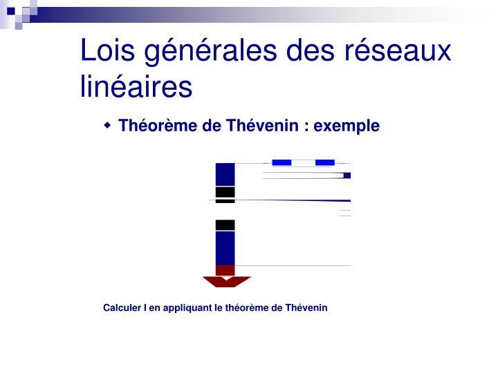 Calculer I en appliquant le théorème de Thévenin