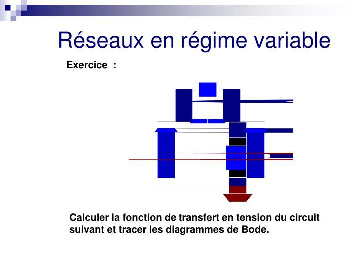 Calculer la fonction de transfert en tension du circuit suivant et tracer les diagrammes de Bode.