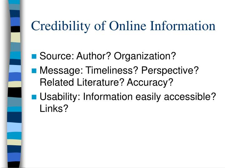 Credibility of Online Information