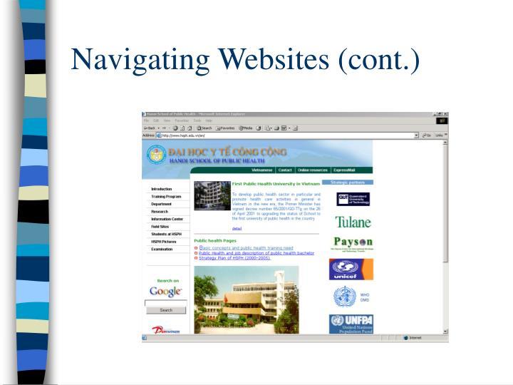 Navigating Websites (cont.)
