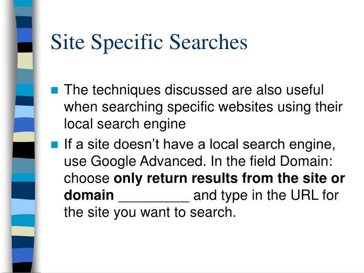 Site Specific Searches
