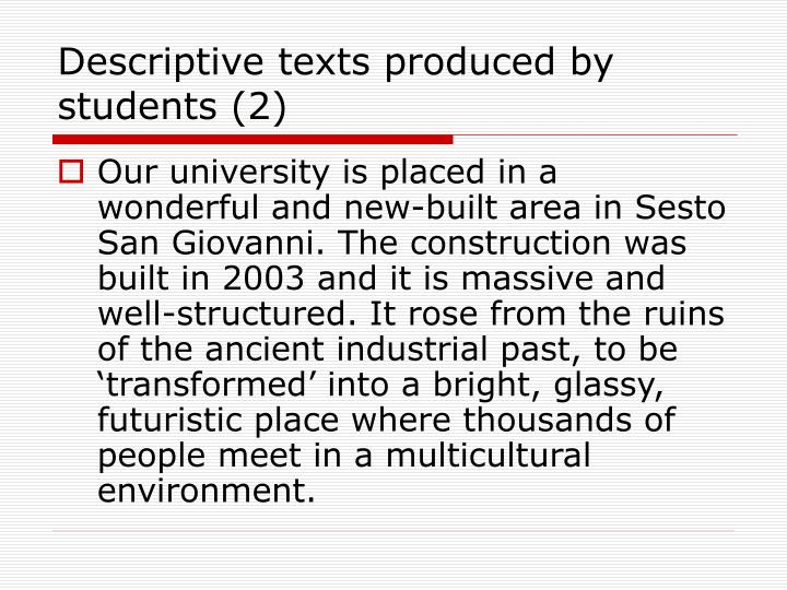 Descriptive texts produced by students (2)