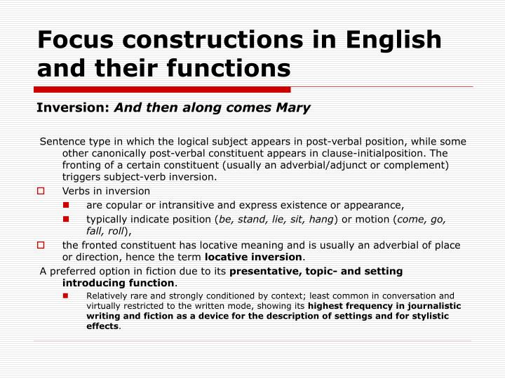 Focus constructions in english and their functions