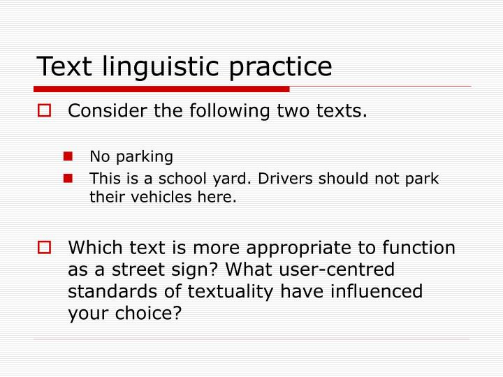 Text linguistic practice