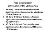 age expectation developmental milestones