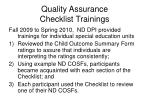 quality assurance checklist trainings