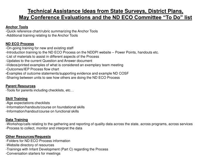 Technical Assistance Ideas from State Surveys, District Plans,