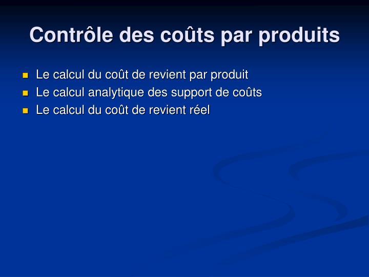 Le calcul du coût de revient par produit