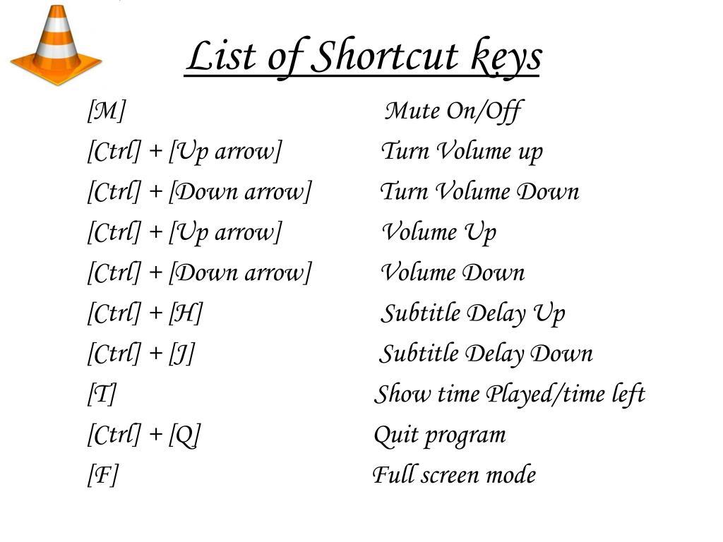 List of Shortcut keys