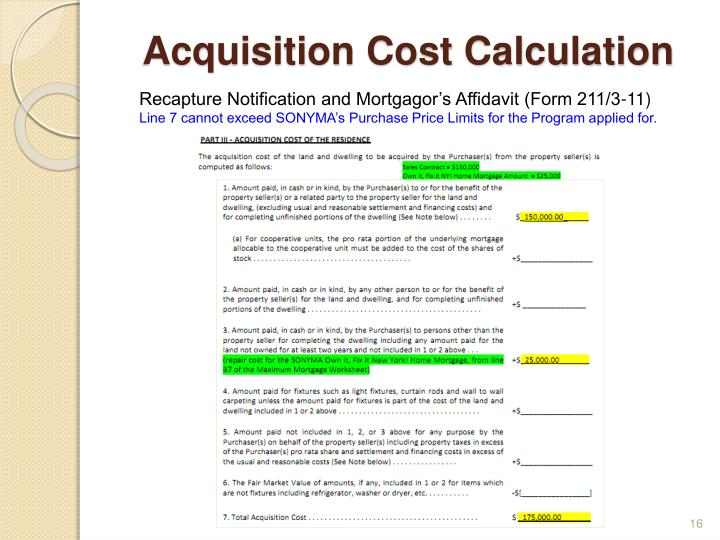 Acquisition Cost Calculation
