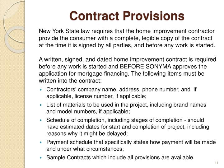 Contract Provisions