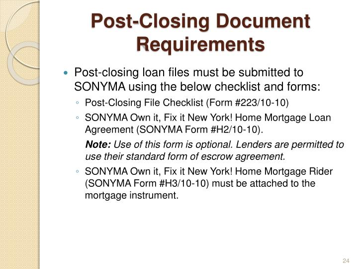 Post-Closing Document Requirements