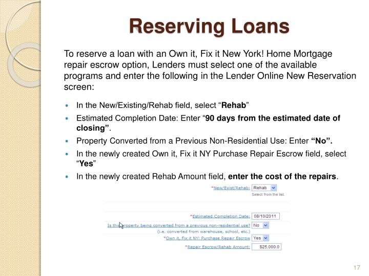 Reserving Loans