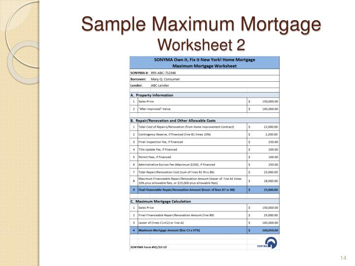 Sample Maximum Mortgage
