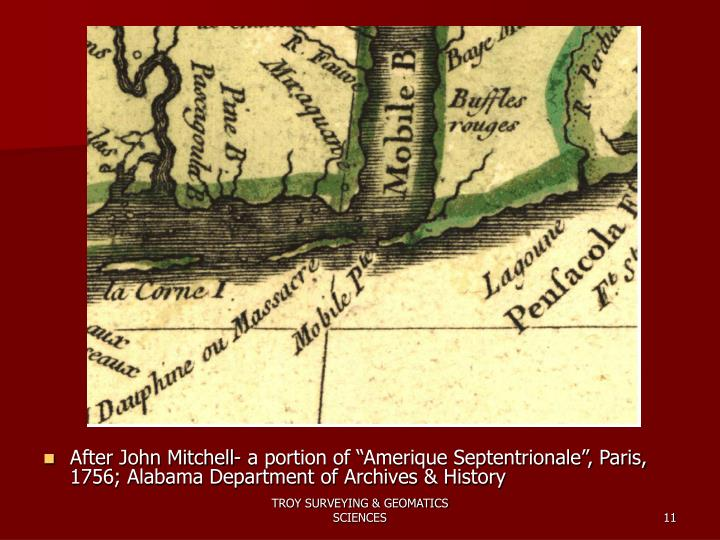 "After John Mitchell- a portion of ""Amerique Septentrionale"", Paris, 1756; Alabama Department of Archives & History"