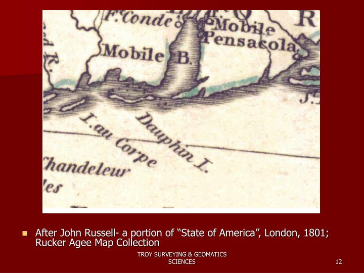 "After John Russell- a portion of ""State of America"", London, 1801; Rucker Agee Map Collection"