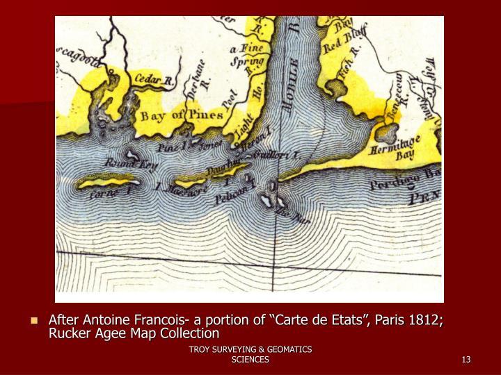 """After Antoine Francois- a portion of """"Carte de Etats"""", Paris 1812; Rucker Agee Map Collection"""