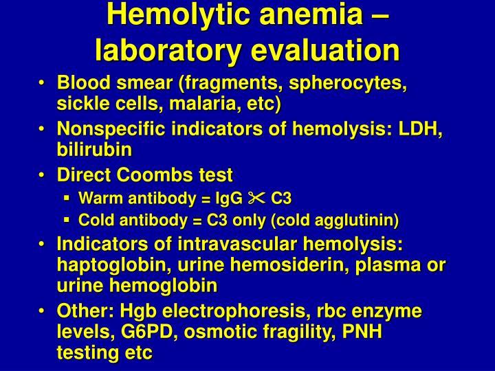 Hemolytic anemia – laboratory evaluation