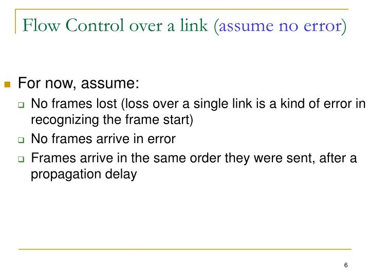 Flow Control over a link (