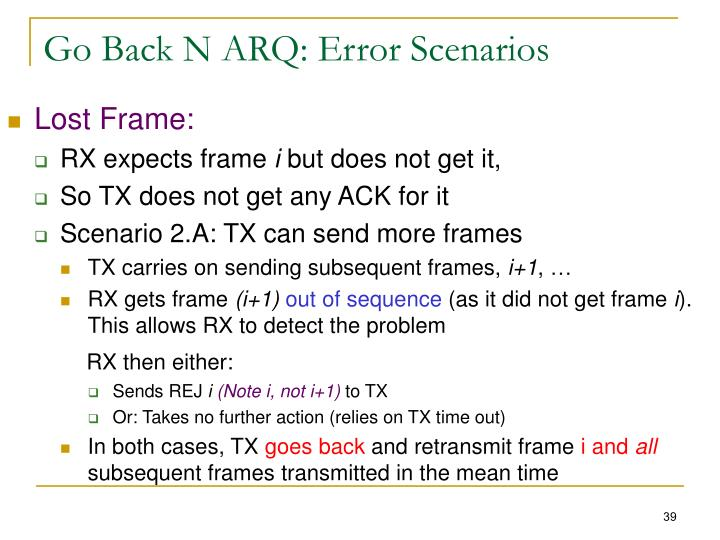 Go Back N ARQ: Error Scenarios