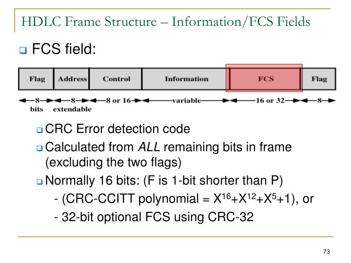 HDLC Frame Structure – Information/FCS Fields